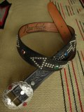 "RAWHIDE STUDDED & JEWELED BELT LOT-332/ 1-3/8""[35MM]"