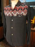 1950'S MARLBORO NATIVE BORDER PRINTED BLACK RAYON SHIRT SZ/M