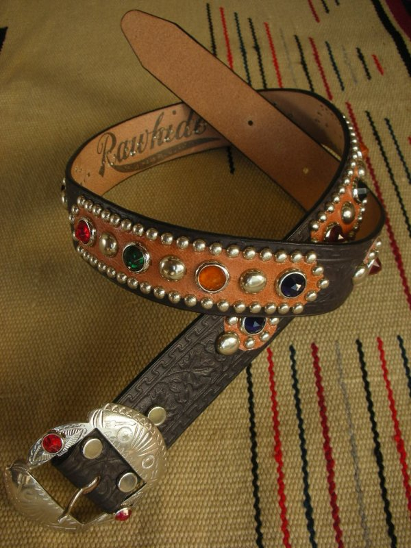 "画像2: RAWHIDE STUDDED & JEWELED BELT LOT-212/ 1-1/2""[38MM]"
