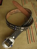 "RAWHIDE STUDDED & JEWELED BELT LOT-313/ 1-3/8""[35MM]"
