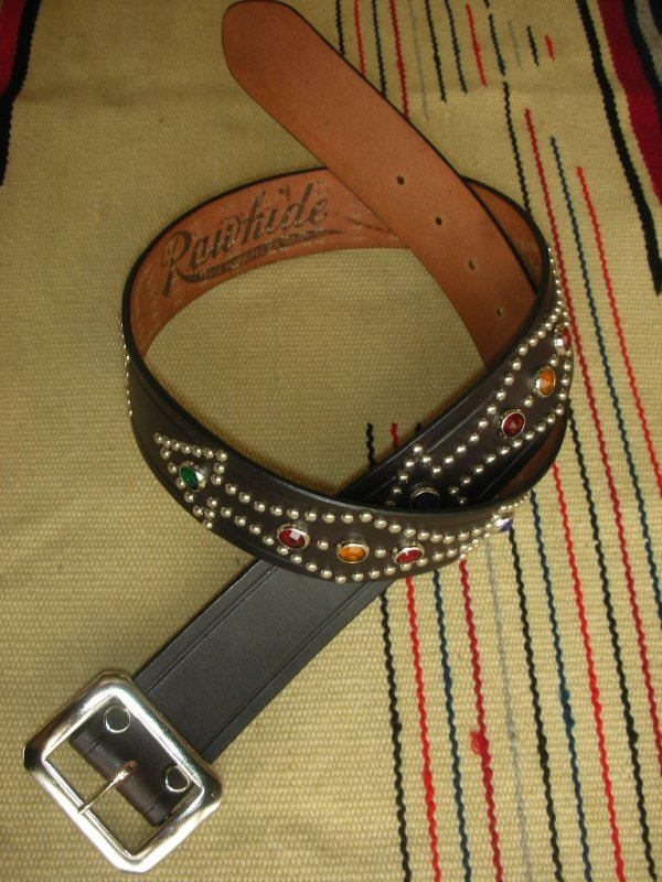"画像1: RAWHIDE STUDDED & JEWELED BELT LOT-134/ 1-3/4""[44MM]"