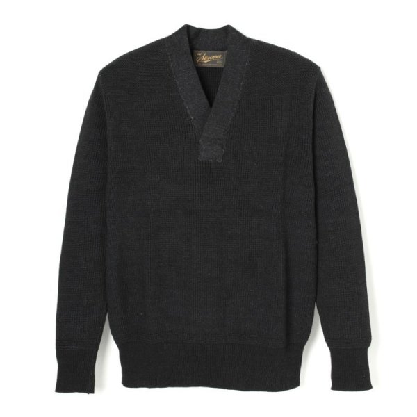画像1: STEVENSON OVERAL U.S. Army Indigo V Neck Sweater - UVColor: Black Indigo