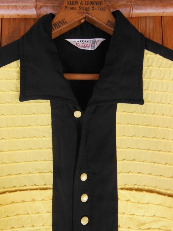 画像1: 1950'S CAMPUS TWO TONE PANEL BLACK X YELLOW R'N'R RAYON SHIRT SZ/L