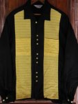 画像3: 1950'S CAMPUS TWO TONE PANEL BLACK X YELLOW R'N'R RAYON SHIRT SZ/L