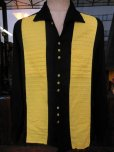 画像4: 1950'S CAMPUS TWO TONE PANEL BLACK X YELLOW R'N'R RAYON SHIRT SZ/L