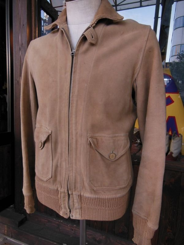 画像1: ★PRICE DOWN!★1930'S SPORTOGS GROMET ZIPPER NUBUCK A-1 STYLE JACKET
