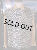 1950'S SEARS LEOPARD FAKE FUR PANEL RAYON PULLOVER SHIRT SZ/M