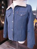 1970'S LEVI'S SHERPA LINED INDIGO POLY/DENIM JACKET SZ/WOMENS L