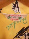 画像4: 1940'S HAWAIIAN PRINTS YELLOW RAYON HAWAIIAN SHIRT SZ/S