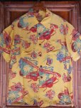 画像4: 1940'SMOORE'S HULA GIRL PRINTED RAYON HAWAIIAN SHIRT SZ/L