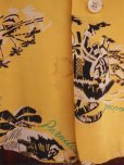 画像9: 1940'S HAWAIIAN PRINTS YELLOW RAYON HAWAIIAN SHIRT SZ/S