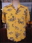 画像2: 1940'S HAWAIIAN PRINTS YELLOW RAYON HAWAIIAN SHIRT SZ/S (2)