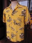 画像1: 1940'S HAWAIIAN PRINTS YELLOW RAYON HAWAIIAN SHIRT SZ/S (1)