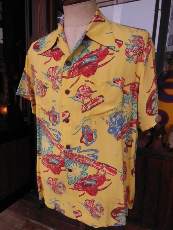 画像1: 1940'SMOORE'S HULA GIRL PRINTED RAYON HAWAIIAN SHIRT SZ/L