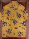画像5: 1940'S HAWAIIAN PRINTS YELLOW RAYON HAWAIIAN SHIRT SZ/S