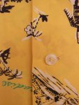 画像8: 1940'S HAWAIIAN PRINTS YELLOW RAYON HAWAIIAN SHIRT SZ/S