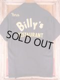 1950'S BILLY'S RESTAURANT EMBROIDERED BLACK RAYON BOWLING SHIRT SZ/M