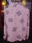 画像10: 1950'S CLADRITE ATOMIC PRINT PINK RAYON SHIRT SZ/MEDIUM