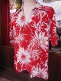 〜1950'S CATARINA BAMBOO FLOWER PRINTED RAYON HAWAIIAN PULLOVER SHIRT/M