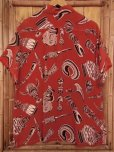 画像4: 1950'S ROYAL OAKS AFRICAN MASKS PRINTED RAYON HAWAIIAN SHIRT SZ/L