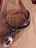 "RAWHIDE STUDDED & JEWELED BELT LOT-341/ 1-3/8""[35MM]"