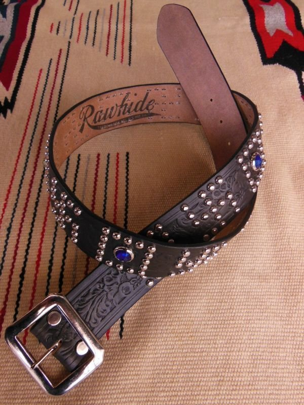 "画像1: RAWHIDE STUDDED & JEWELED BELT LOT-142/ 1-3/4""[44MM]"