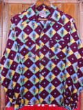 1950'S A SHERMAN CREATION HARLEQUIN PRINT RAYON SHIRT SZ/SMALL