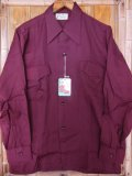 1940'S DEADSTOCK PRINCE ALBERT BURGUNDY RAYON SHIRT SZ/SMALL