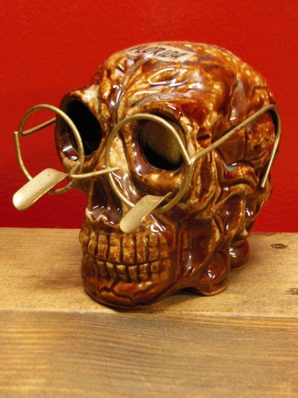 画像1: 1950'S〜 SKULL W/GLASSES ASHTRAY ヴィンテージ陶器製スカル骸骨灰皿1