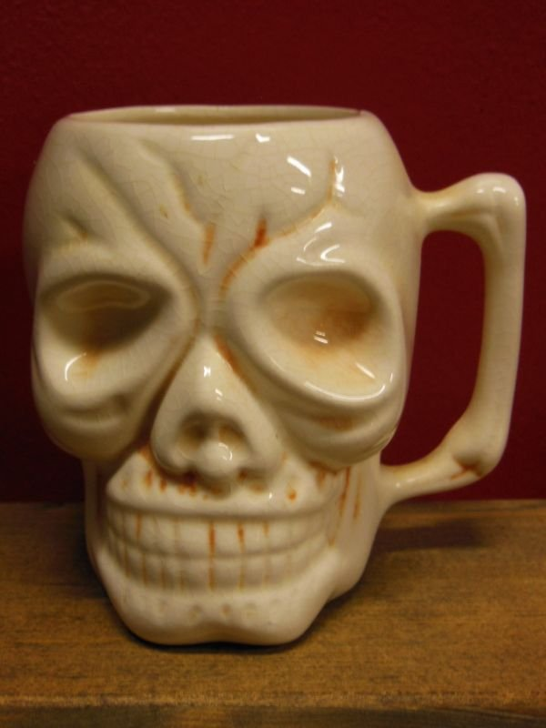 画像1: 1950'S〜 KAHIKI SKULL POTTERY TIKI MUG ヴィンテージ陶器製スカルマグ4