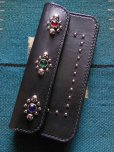 画像1: RAWHIDE STUDDED & JEWELED TRUCKERS WALLET LOT-501A/BLACK (1)
