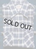 1950'S DEADSTOCK NATIONAL DARK GRAY X WHITE PLAID RAYON ACETATE SHIRT SZ/M