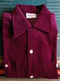 1950'S DEADSTOCK TOP CRAFT BURGUNDY CORDUROY SHIRT SZ/LARGEL