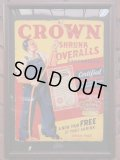 1940'S CROWN OVERALLS ADVERTISING CARDBOARD SIGN