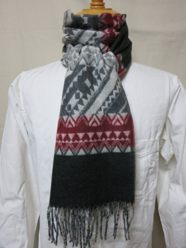 画像2: DAPPER'S Cashmink Scarf by V.FRAAS LOT1210 (ETHNIC) GRAY/RED★NAVY/ORANGE