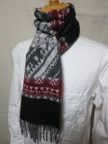 DAPPER'S Cashmink Scarf by V.FRAAS LOT1210 (ETHNIC) GRAY/RED★NAVY/ORANGE
