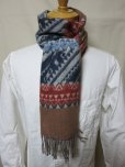 画像9: DAPPER'S Cashmink Scarf by V.FRAAS LOT1210 (ETHNIC) GRAY/RED★NAVY/ORANGE   (9)