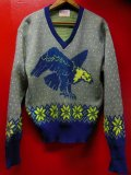 1950'S CAMPUS EAGLE & SNOWFLAKE PATERN JAQUARD WOOL SWEATER SIZE/42