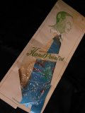 1950'S DEADSTOCK JAPANESE SOUVENIR HAND PAINTED RAYON TIE/BLUE