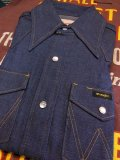 1970'S DEADSTOCK WRANGLER DENIM WESTERN SHIRT 13-1/2 X-SMALL