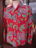 1950'S MW CARIFORNIA TROPICAL FLOWER PRINTED RAYON HAWAIIAN SHIRT L/S/SZ/SMALL