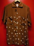 1950'S〜 LANCER ATOMIC PATERN PRINTED BROWN FLECK RAYON SHIRT SZ/M