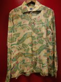"1950'S PILGRIM ""SENSU""OVERALL PRINTED NYLON HAWAIIAN SHIRT L/S/SZ/MEDIUM"