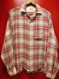 1950'S〜 BLOCKS RED X GRAY PLAID RAYON SHIRT SZ/M