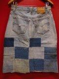 80S90S リーバイス US古着リメイクデニムパッチワーク スカート(1)/実寸W30インチ