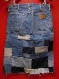 80S90S ラングラー13MWZ US古着リメイクデニムパッチワーク スカート(7)/実寸W31インチ