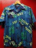 50S60S 米国ハワイ製 ビンテージ MADE INHAWAII TIKI柄 ピケコットン ハワイアン アロハシャツ/M US古着