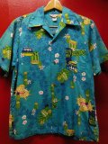 50S60S 米国ハワイ製 ビンテージ KIILANI ティキ パイナップル柄 コットン ハワイアン アロハシャツ/M US古着