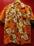 50S60S 米国ハワイ製 ビンテージ ROYAL HAWAIIANバーククロス コットン ハワイアン アロハシャツ/M US古着