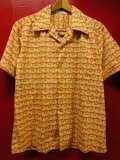 1950'S THE MAN'S STORE ELEPHANT BORDER PRINTED COTTON SHIRT SZ/LM